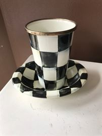 MacKenzie Childs Courtly Check enamelware tumbler and dish