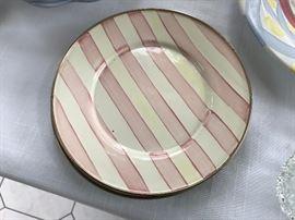 MacKenzie Childs Bathing Hut enamelware dinner plates