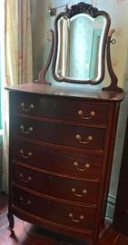 5 drawer mahogany chest with attached mirror