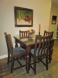 Oak Drawleaf English Pub Table & Chair Set