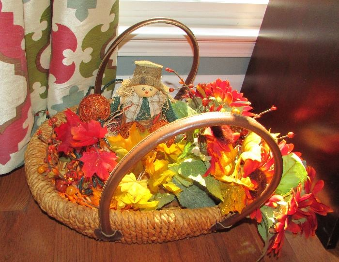 """Very """"fall"""" decorative basket with lights & leaves....looking pretty!"""