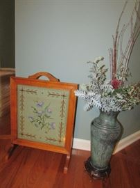 Antique Mission Style Needlepoint Fireplace Screen