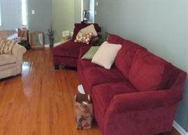 Red Lazboy sofa & loveseat, only these two pieces available...other pictures showing different views of same set