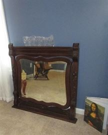 Antique oak dresser mirror with wire to hang on wall
