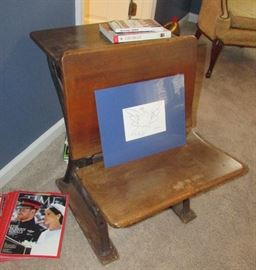 Small antique child's desk with ink well hole