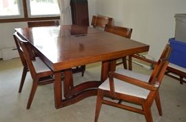 Mid Century Post Modern Dining Room Table and Chairs,
