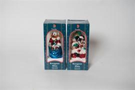 Walt Disney Donald Duck and Mickey Glass Ornaments