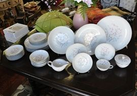 A china service that features a design that reminds me of of Roseville Ming Tree.  All the pieces shown are without damage, a complete service for 6 with a few extra pieces.