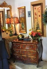 Beautiful bouille drawer chest, Bassett fancy mirror, retro inspired prints and other designer touches