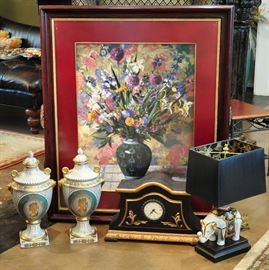 Group of designer pieces - pair of urns had a retail price of $180, wonderful porcelain elephant lamp, faux antique clock and a wonderfully framed print that originally sold for over $400 at Spears.