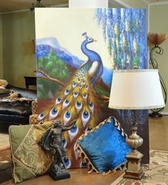 Fabulous 4' by 5' peacock painting, Austin Products faux bronze figure, nice accent pillows and lamps