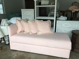 60 inch long chaise.  Light rose faux silk shantung fabric.