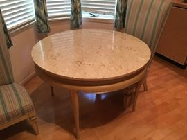 Vintage 42 inch round marble top table.  Part of a set that includes a large end table,  small side table with accordion doors, 72 inch buffet with accordion doors, and breakfast table with 4 chairs, and 2 occasional chairs.