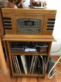 CROSLEY RECORD PLAYER / RADIO WITH STAND AND MANY RECORD ALBUMS