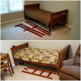 Bunk bed (bottom rung of ladder is broken, but all else in great condition) - or 2 twin beds