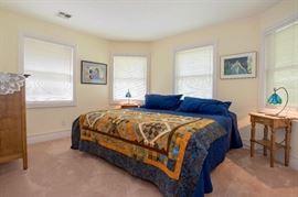 Highboy Dresser, Art, Queen Mattress, Quilts, Side Table, Art Glass Lamp.