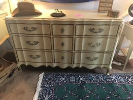 French Provincial dresser with mirror and matching night stand