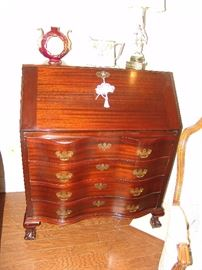 Mahogany Winthrope style fall front desk with drawers