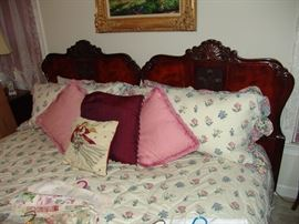 King size bed with mahogany head board