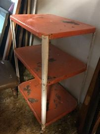 Cheery Orange Metal Cart