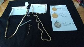 Collectible coins and 14kt gold necklaces