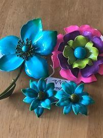 Mid century enamel flowers