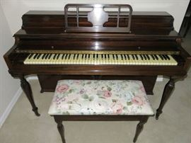 Vintage Winter Company New York Upright Piano with Stool