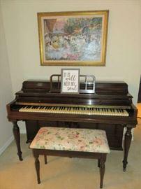 Antique Winter Company New York Upright Piano & Stool