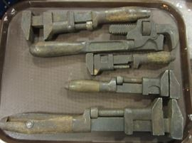 antique wood handled pipe wrenches