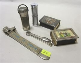 lighters, cigarette cutter, match box holders
