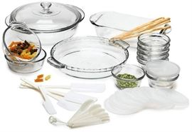 Anchor Hocking Expressions Glass Cookware, 33Piec ...