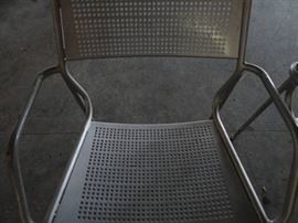 (2) Metal Outdoor Silver Patio Chairs 2
