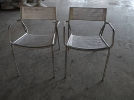 2 Metal Outdoor Silver Patio Chairs