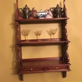 Cherry curio shelf with two drawers