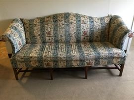Couch with Oriental Design and Wood Legs https://ctbids.com/#!/description/share/38005