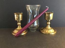 Two Brass Candle Holders & Hurricane Globe     https://ctbids.com/#!/description/share/38056