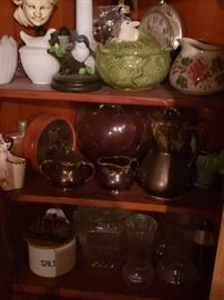 Glassware; pottery; clock and other collectibles inside nice corner cabinet.
