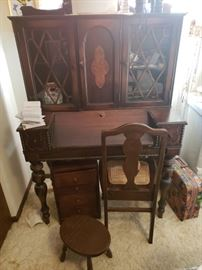 Antique desk, chair and footstool; suitcase; more.