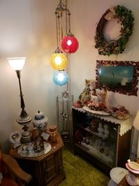 Gorgeous MCM hanging lamp; display cabinet, end table; figurines, another great table lamp!