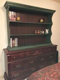 Vintage pine dresser with open hutch.