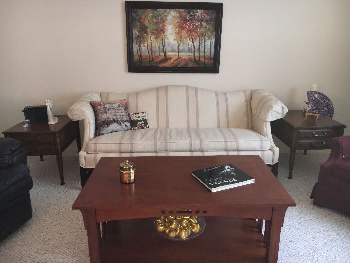 Formal living room—white sofa, contemporary mission style coffee table, vintage end tables and more.