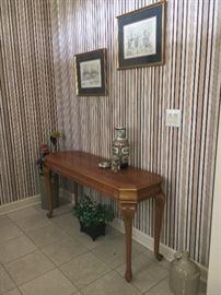 Oak console table.