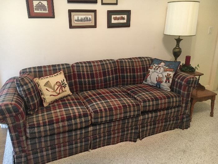 Plaid vintage couch, pair of end tables and lamps.
