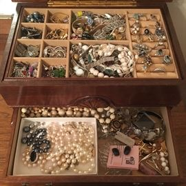 Lots of vintage costume jewelry, Sarah Coventry and more—some sterling silver.