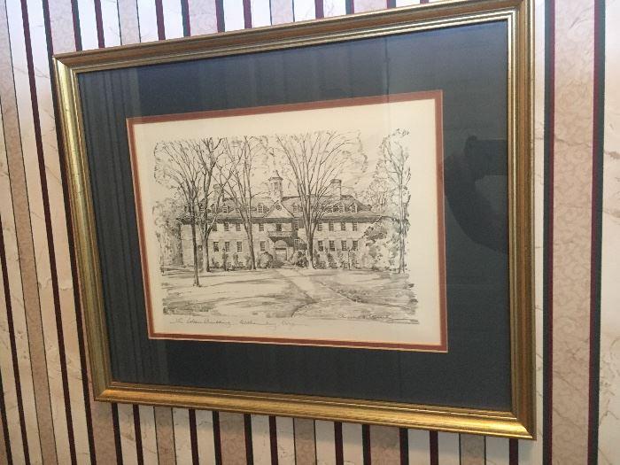 Framed Williamsburg prints.