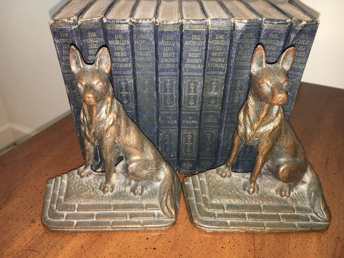 """""""The World's One Hundred Best Stories"""", 10 volume set, 1927, metal dog bookends."""