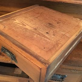 Antique 1800s pine sideboard/buffet, hand-planed with dovetailed drawers.