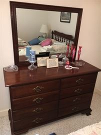 Vintage Young Hinkle mahogany bedroom group—full bed, dresser with mirror and one nightstand.