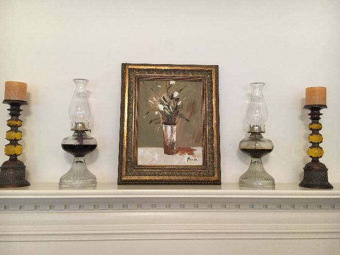 Original painting, oil lamps and candle stands.