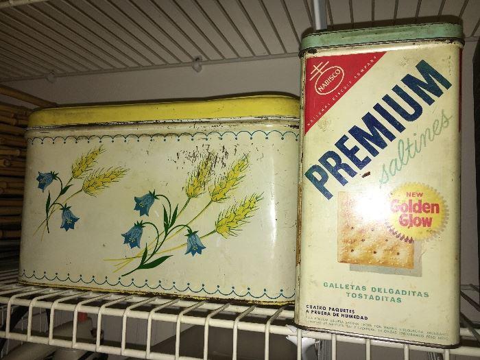 Vintage metal bread box and 1950s Premium Saltines tin (pre bar codes).